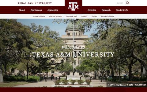 Screenshot of Home Page tamu.edu - Home - Texas A&M University, College Station, TX - captured Oct. 1, 2015
