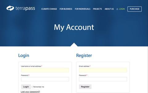 Screenshot of Login Page terrapass.com - My Account - TerraPass - captured Aug. 31, 2016