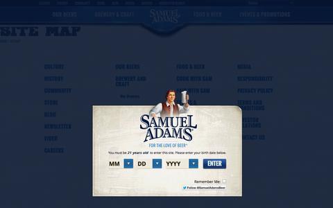 Screenshot of Site Map Page samueladams.com - Samuel Adams® - Sitemap - America's Craft Beer Since 1984 - captured Sept. 25, 2014