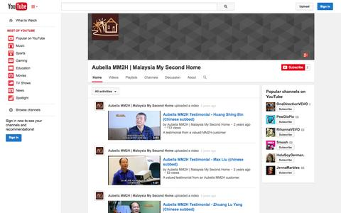Screenshot of YouTube Page youtube.com - Aubella MM2H   Malaysia My Second Home  - YouTube - captured Oct. 23, 2014