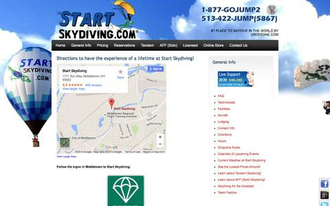 Screenshot of Maps & Directions Page startskydiving.com - Directions to Start Skydiving in Cincinnati - captured Jan. 12, 2016