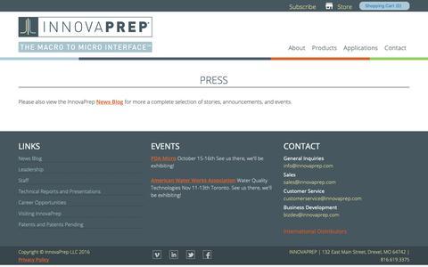 Screenshot of Press Page innovaprep.com - Press Releases | InnovaPrep LLC - captured Oct. 12, 2018