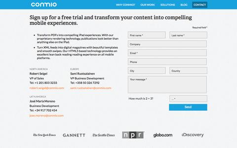 Screenshot of Trial Page conmio.com - Request A Free Trial - Conmio - captured Sept. 13, 2014