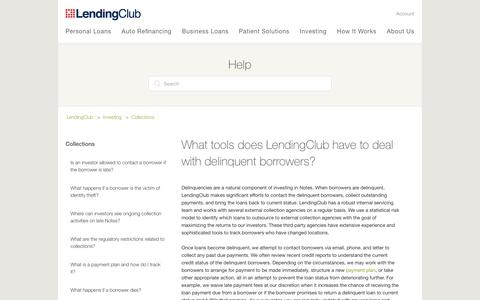 Screenshot of Support Page lendingclub.com - What tools does LendingClub have to deal with delinquent borrowers? – LendingClub - captured June 27, 2018