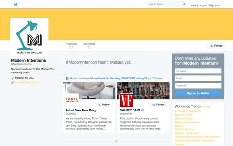 Screenshot of Twitter Page twitter.com - Modern Intentions (@ModernIntention) | Twitter - captured Oct. 29, 2014