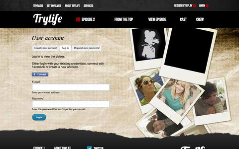 Screenshot of Login Page trylife.tv - User account | TryLife - captured Aug. 11, 2015