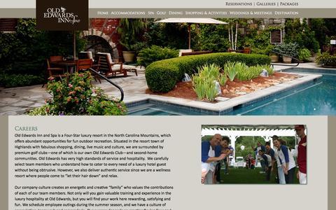 Screenshot of Jobs Page oldedwardsinn.com - Careers | Old Edwards Inn & Spa, Highlands, NC - captured Sept. 19, 2014