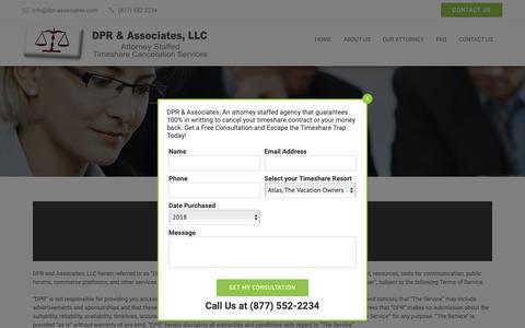 Screenshot of Terms Page dpr-associates.com - Terms - DPR & Associates - captured Dec. 9, 2018