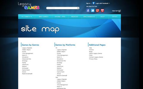 Screenshot of Site Map Page legacygames.com - Site Map / Legacy Games - captured Sept. 23, 2014