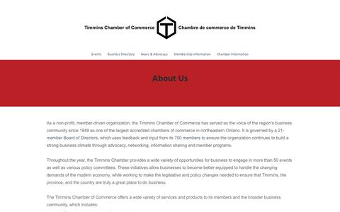 Screenshot of About Page timminschamber.on.ca - About Us   Timmins Chamber of Commerce - captured Nov. 4, 2017