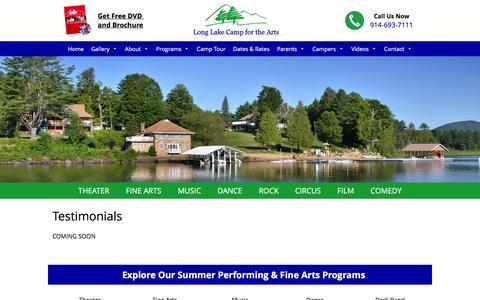 Screenshot of Testimonials Page longlakecamp.com - Testimonials | Long Lake Camp For The Arts - captured Feb. 1, 2016