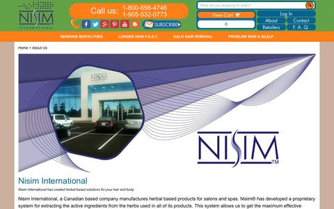 Screenshot of About Page nisim.com - About Nisim International NewHair Biofactors FAST Shampoo Kalo - captured Dec. 3, 2016