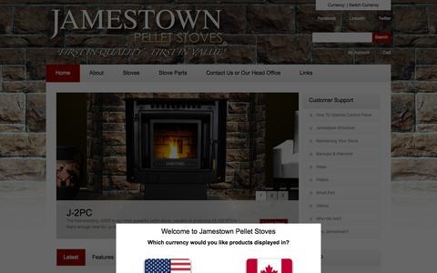 Screenshot of Home Page jamestownpelletstoves.com - Jamestown Pellet Stoves - captured Sept. 30, 2014