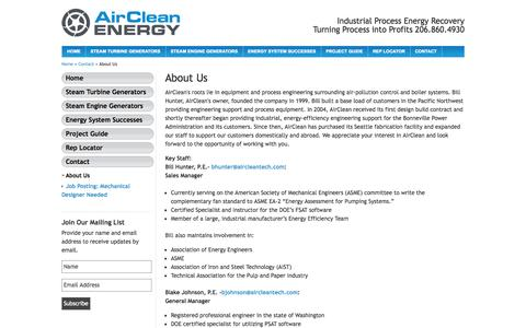 Screenshot of About Page aircleanenergy.com - About Us » AirClean Energy - captured Oct. 4, 2014