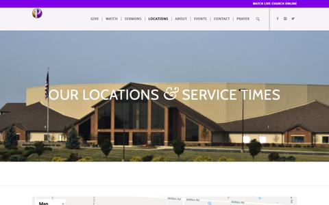 Screenshot of Locations Page ppcog.com - Location & Service Times - captured Sept. 29, 2018