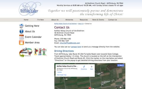 Screenshot of Contact Page Maps & Directions Page bvcob.com - Contact Us | Buffalo Valley Church of the Brethren - captured June 17, 2016