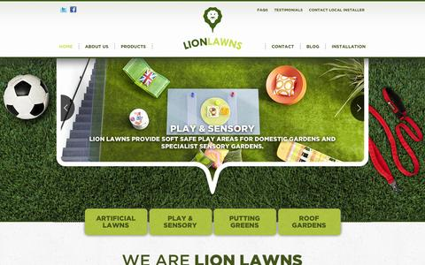 Screenshot of Home Page lionlawns.co.uk - Lion Lawns: Artificial Grass, Synthetic Turf & Fake Lawns for Gardens - captured Oct. 1, 2014