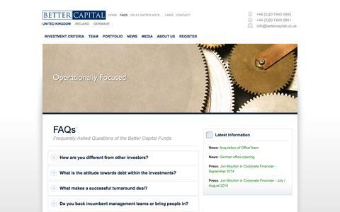 Screenshot of FAQ Page bettercapital.co.uk - FAQs - Better Capital LLP - captured Oct. 5, 2014
