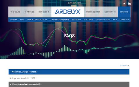 Screenshot of FAQ Page ardelyx.com - FAQS | Ardelyx, Inc. - captured Oct. 8, 2017