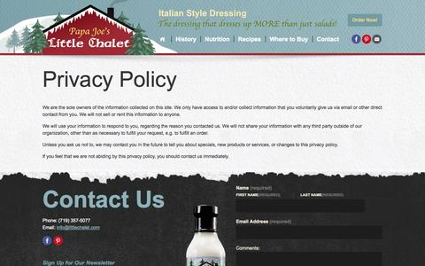Screenshot of Privacy Page littlechaletdressing.com - Privacy Policy | Little Chalet Dressing - captured Oct. 1, 2014