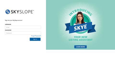 Screenshot of Login Page skyslope.com - SkySlope - Customer Secure Login Page - captured Aug. 13, 2019