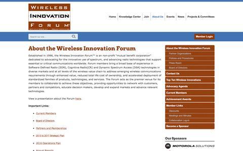 Screenshot of About Page wirelessinnovation.org - About the Wireless Innovation Forum - captured Feb. 24, 2016