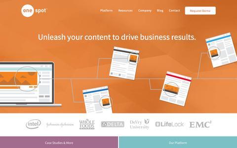 Screenshot of Home Page onespot.com - Content Marketing Software | OneSpot - captured Dec. 13, 2014
