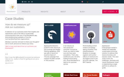 Screenshot of Case Studies Page brandwatch.com - Case Studies Archive - Brandwatch - captured July 21, 2014