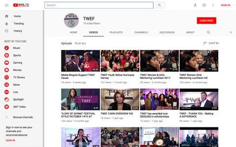 Screenshot of Press Page youtube.com - TWEF - YouTube - YouTube - captured Feb. 20, 2018