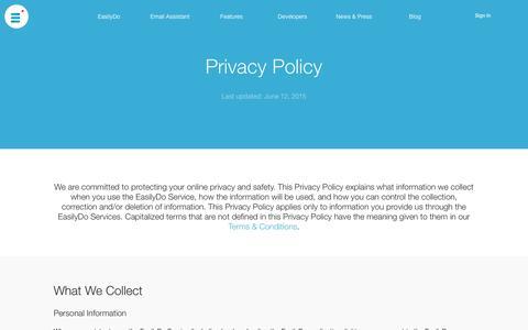 Screenshot of Privacy Page easilydo.com - EasilyDo | Privacy Policy - captured July 3, 2015