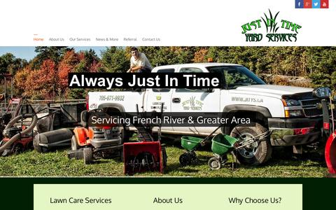 Screenshot of Home Page jitys.ca - Noelville Lawn Care Expert   Just In Time Yard Services   705-671-9932 - captured Oct. 6, 2014