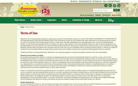 Screenshot of Terms Page armstronggarden.com - Terms of Use / Armstrong Garden Centers - captured Sept. 19, 2014