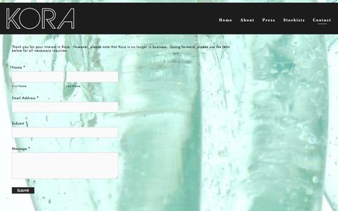 Screenshot of Contact Page koradesigns.com - Contact — KORA Designs - captured June 9, 2017