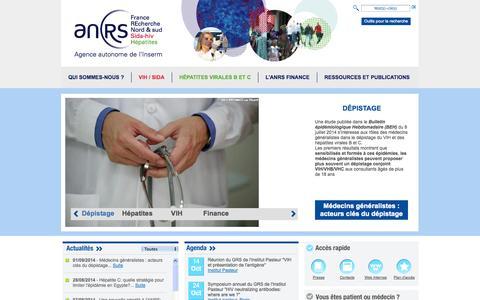 Screenshot of Home Page anrs.fr - ANRS - Agence Nationale de Recherche sur le Sida et les hépatites virales - captured Oct. 6, 2014