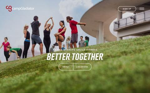 Screenshot of Home Page campgladiator.com - Camp Gladiator - captured Feb. 23, 2016