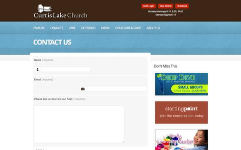 Screenshot of Contact Page curtislake.org - Contact Us     Curtis Lake Christian Church   Finding hope, Developing faith, Leading with love. - captured Oct. 3, 2014