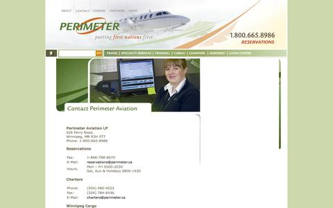 Screenshot of Contact Page perimeter.ca - Perimeter Aviation- Contact - captured Oct. 2, 2014