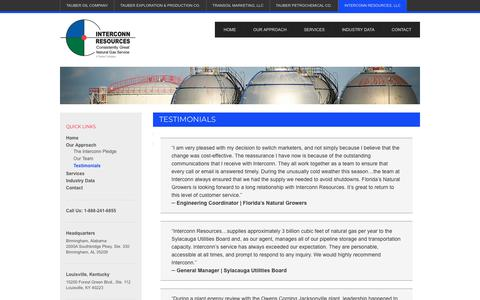 Screenshot of Testimonials Page tauberoil.com - Customer Testimonials - Interconn Resources - captured Jan. 30, 2018