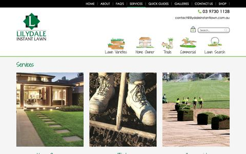 Screenshot of Services Page lilydaleinstantlawn.com.au - Lawn Services Melbourne   Lilydale Instant Lawn - captured Sept. 28, 2018