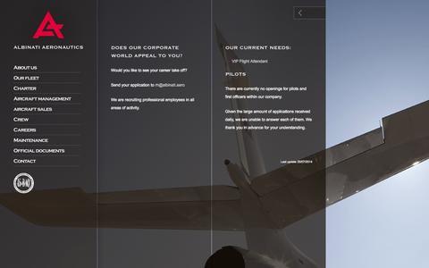 Screenshot of Jobs Page albinati.aero - Albinati Aeronautics S.A. - Professional Aviation Solutions - captured Oct. 4, 2014
