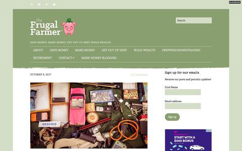 Screenshot of Home Page thefrugalfarmer.net - The Frugal Farmer – Save money, make money, get out of debt, build wealth. - captured Oct. 16, 2017