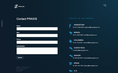 Screenshot of Contact Page praxisglobe.com - Contactános PRAXIS Desarrollo de software y consultoria TI - captured Sept. 25, 2018