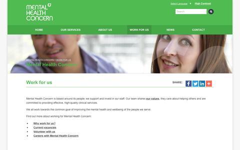 Screenshot of Team Page mentalhealthconcern.org - Work for us - Mental Health Concern - captured April 15, 2016