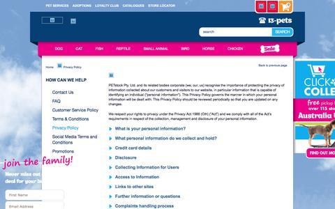 Screenshot of Privacy Page petstock.com.au - Pet Supplies & Pet Products Online   PETstock - captured Aug. 30, 2016