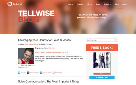 Screenshot of Blog tellwise.com - Tellwise - Smart tips, tricks, and ideas for salespeople who love selling! - captured Jan. 7, 2016