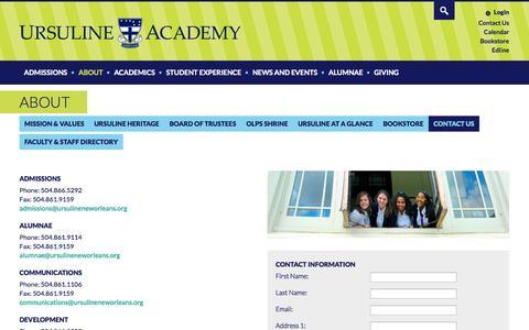 Screenshot of Contact Page ursulineneworleans.org - Contact Us | Ursuline Academy - captured Oct. 7, 2014