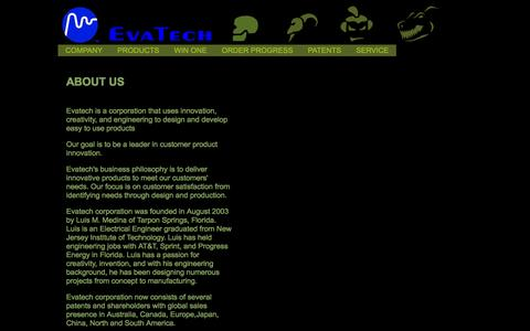Screenshot of About Page evatech.net - WELCOME TO EVATECH - captured Jan. 31, 2016