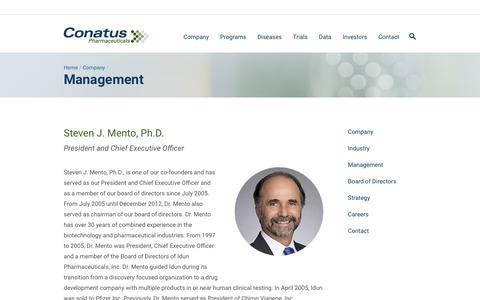 Screenshot of Team Page conatuspharma.com - Management | Conatus Pharmaceuticals - captured Nov. 1, 2017