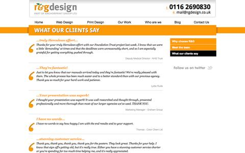 Screenshot of Testimonials Page rgdesign.co.uk - Testimonials - What our clients say - captured Oct. 27, 2014