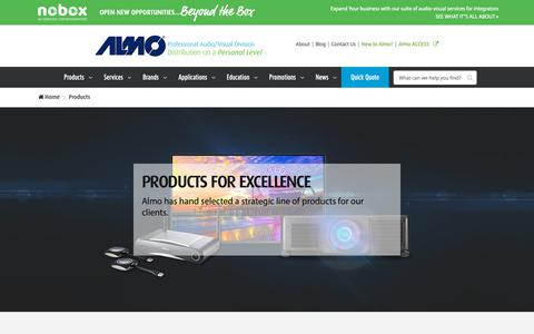 Screenshot of Products Page almoproav.com - Buy Audio/Visual Products and AV Equipment distributed by Almo ProAV. - captured Oct. 1, 2018